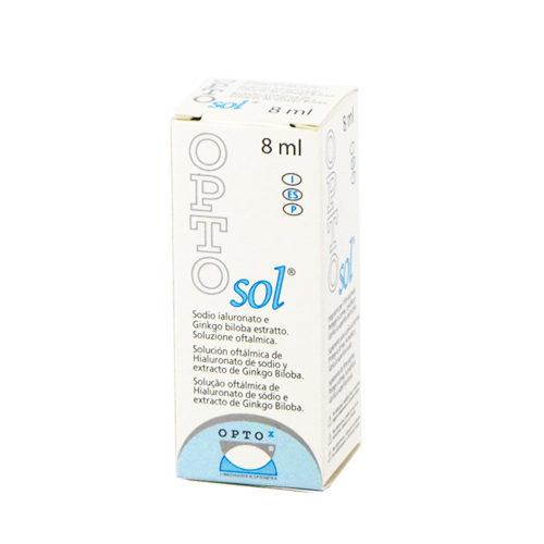 Opto Sol collirio è una soluzione oftalmica sterile contenente Acido Ialuronico ed estratto di Ginkgo Biloba che ha lo scopo di proteggere le cellule corneali.