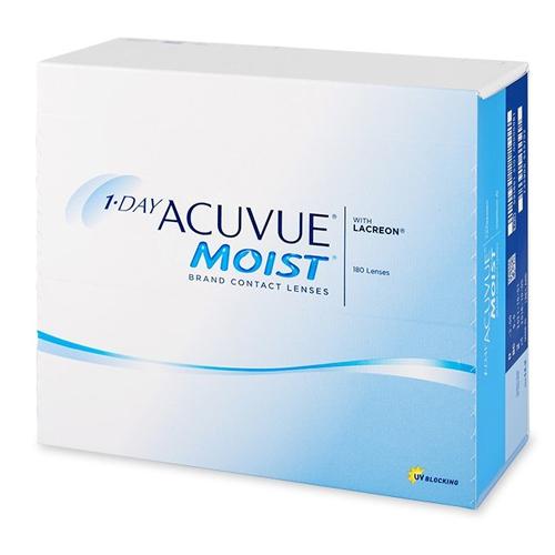 Le 1 Day Acuvue Moist, confezione da 180, sono lenti a contatto morbide giornaliere distribuite da Johnson & Johnson che correggono miopia e ipermetropia